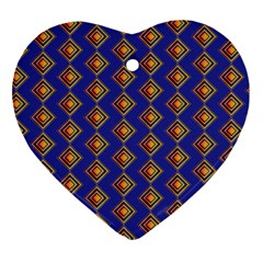 Blue Geometric Losangle Pattern Heart Ornament (two Sides) by paulaoliveiradesign