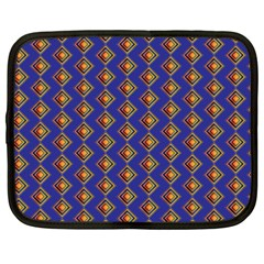 Blue Geometric Losangle Pattern Netbook Case (xxl)  by paulaoliveiradesign