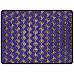 Blue Geometric Losangle Pattern Fleece Blanket (large)  by paulaoliveiradesign