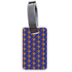 Blue Geometric Losangle Pattern Luggage Tags (one Side)  by paulaoliveiradesign