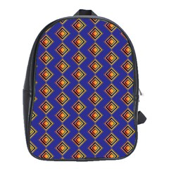 Blue Geometric Losangle Pattern School Bags (xl)  by paulaoliveiradesign