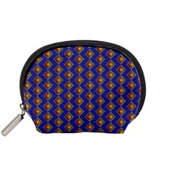 Blue Geometric Losangle Pattern Accessory Pouches (small)  by paulaoliveiradesign