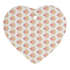 Geometric Losangle Pattern Rosy Ornament (heart) by paulaoliveiradesign