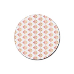 Geometric Losangle Pattern Rosy Rubber Coaster (round)
