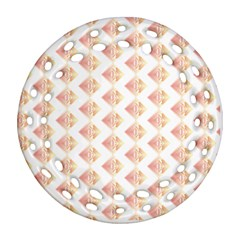 Geometric Losangle Pattern Rosy Round Filigree Ornament (two Sides) by paulaoliveiradesign