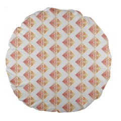 Geometric Losangle Pattern Rosy Large 18  Premium Round Cushions by paulaoliveiradesign