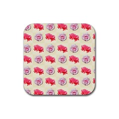 Yellow Floral Roses Pattern Rubber Square Coaster (4 Pack)