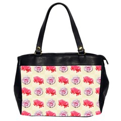 Yellow Floral Roses Pattern Office Handbags (2 Sides)  by paulaoliveiradesign