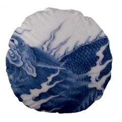 Blue Chinese Dragon Large 18  Premium Round Cushions by paulaoliveiradesign