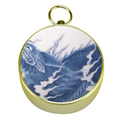 Blue Chinese Dragon Gold Compasses by paulaoliveiradesign