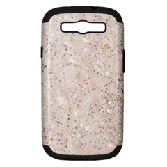 White Sparkle Glitter Pattern Samsung Galaxy S Iii Hardshell Case (pc+silicone) by paulaoliveiradesign