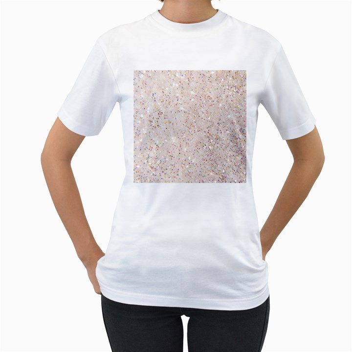 white sparkle glitter pattern Women s T-Shirt (White)