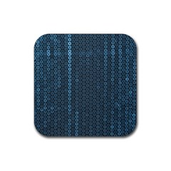 Blue Sparkly Sequin Texture Rubber Square Coaster (4 Pack)