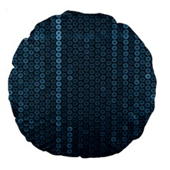 Blue Sparkly Sequin Texture Large 18  Premium Round Cushions by paulaoliveiradesign