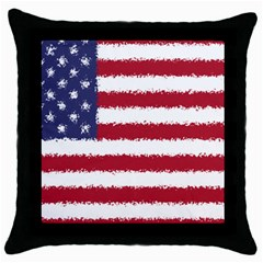 Flag Of The United States America Throw Pillow Case (black) by paulaoliveiradesign