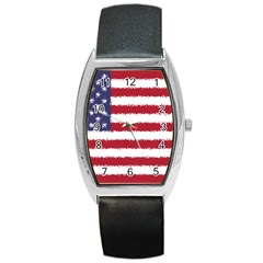 Flag Of The United States America Barrel Style Metal Watch by paulaoliveiradesign