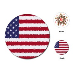 Flag Of The United States America Playing Cards (round)  by paulaoliveiradesign