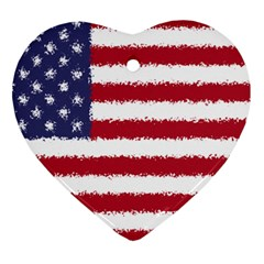 Flag Of The United States America Heart Ornament (two Sides) by paulaoliveiradesign