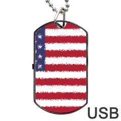 Flag Of The United States America Dog Tag Usb Flash (one Side) by paulaoliveiradesign