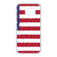 Flag Of The United States America Samsung Galaxy S7 Edge White Seamless Case by paulaoliveiradesign