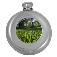 Green Grass Field Round Hip Flask (5 Oz) by paulaoliveiradesign