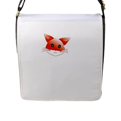 Animal Image Fox Flap Messenger Bag (l)