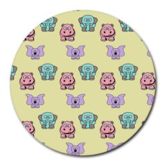 Animals Pastel Children Colorful Round Mousepads by BangZart