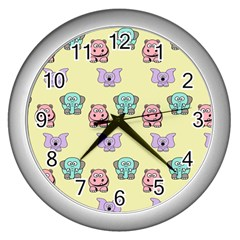 Animals Pastel Children Colorful Wall Clocks (silver)  by BangZart