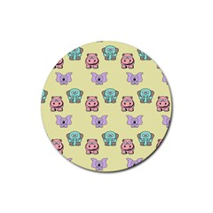 Animals Pastel Children Colorful Rubber Coaster (round)  by BangZart