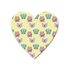 Animals Pastel Children Colorful Heart Magnet by BangZart