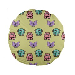 Animals Pastel Children Colorful Standard 15  Premium Round Cushions by BangZart