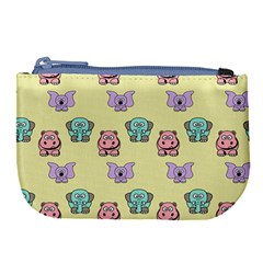 Animals Pastel Children Colorful Large Coin Purse