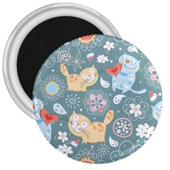 Cute Cat Background Pattern 3  Magnets by BangZart