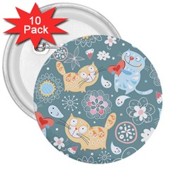 Cute Cat Background Pattern 3  Buttons (10 Pack)