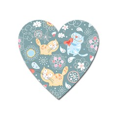 Cute Cat Background Pattern Heart Magnet by BangZart