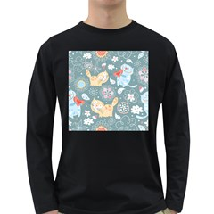 Cute Cat Background Pattern Long Sleeve Dark T-shirts by BangZart