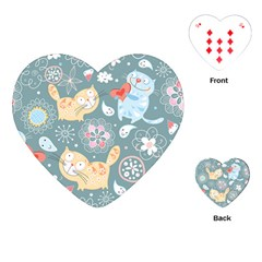 Cute Cat Background Pattern Playing Cards (heart)  by BangZart