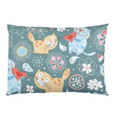 Cute Cat Background Pattern Pillow Case (two Sides) by BangZart