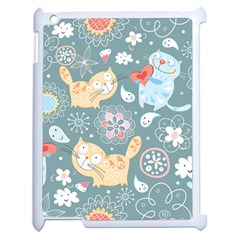 Cute Cat Background Pattern Apple Ipad 2 Case (white) by BangZart