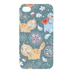 Cute Cat Background Pattern Apple Iphone 4/4s Hardshell Case by BangZart