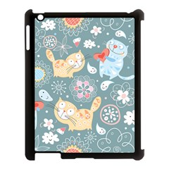 Cute Cat Background Pattern Apple Ipad 3/4 Case (black) by BangZart