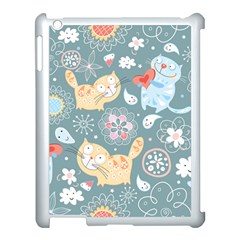 Cute Cat Background Pattern Apple Ipad 3/4 Case (white) by BangZart