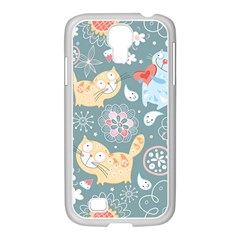 Cute Cat Background Pattern Samsung Galaxy S4 I9500/ I9505 Case (white) by BangZart