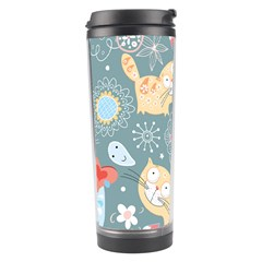 Cute Cat Background Pattern Travel Tumbler by BangZart