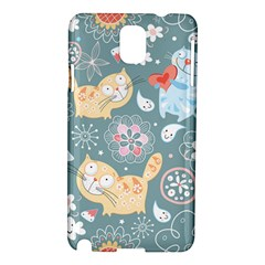 Cute Cat Background Pattern Samsung Galaxy Note 3 N9005 Hardshell Case by BangZart