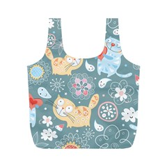 Cute Cat Background Pattern Full Print Recycle Bags (m)