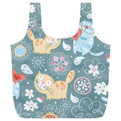 Cute Cat Background Pattern Full Print Recycle Bags (l)