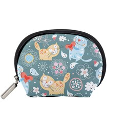 Cute Cat Background Pattern Accessory Pouches (small)  by BangZart