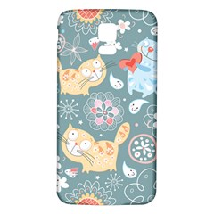 Cute Cat Background Pattern Samsung Galaxy S5 Back Case (white)