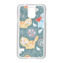 Cute Cat Background Pattern Samsung Galaxy S5 Case (white) by BangZart